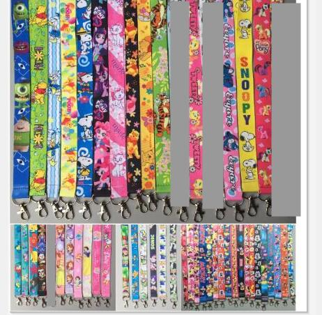100pcs cartoon mickey minnie Donald Duck mix Key Lanyard Badge ID Cards Holders Neck Straps with Keyring Gifts Party Favors