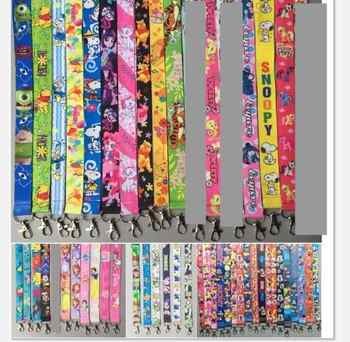 100pcs cartoon mickey minnie Donald Duck mix Key Lanyard Badge ID Cards Holders Neck Straps with Keyring Gifts Party Favors - DISCOUNT ITEM  11% OFF All Category