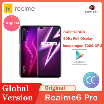 Realme 6Pro 8GB RAM 128GB ROM Global Version Mobile Phone Snapdragon 720G 30W Flash Charge 64MP Camera 6.6inch 90Hz Display