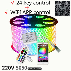 Image 4 - 220V LED Strip Light 12V RGB SMD 5050 Tape Phone APP and Remote control Waterproof flexible lights Outdoor room decoration lamp