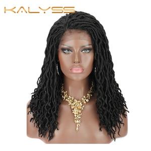 Kalyss 18 faux faux falso locs peruca de renda desarrumado deusa crochê cabelo trançado perucas boêmio onda cabelo sintético tranças frente ombre trança