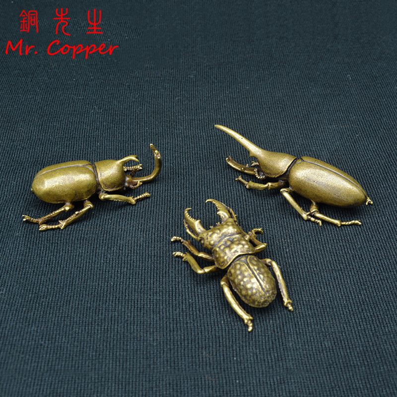 Vintage Copper Insect Tea font b Pet b font Japanese Rhinoceros Beetle Small Ornaments Brass Dynastes