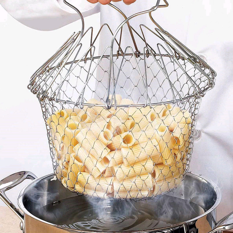 1Pcs Foldable Sieve Mesh Strainers Stainless Steel Frying Basket Colander Sieve Mesh Strainer Kitchen Cooking Tools Accessories