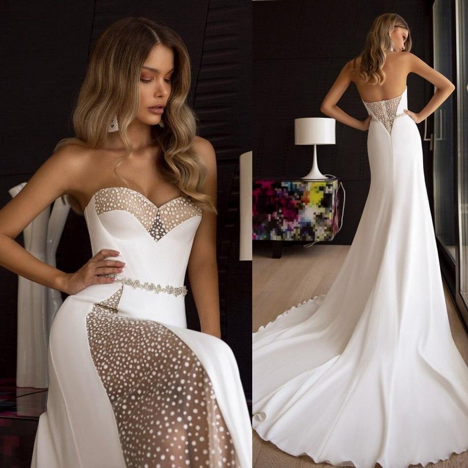 Bohemain Satin 2020 Mermaid Wedding Dresses Sweetheart Beading Top Bridal Gowns Sweep Train Custom Made Wedding Dress