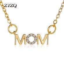 Zyzq colar do dia das mães, colar simples de alfabeto selvagem, inglês, pingente de mamãe, clavícula, corrente de férias criativas, presente