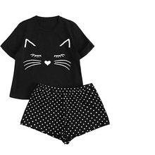 Roupa de dormir feminina estampa de gato, pijama casual simples e confortável, manga curta