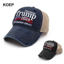 Koep novo donald trump 2024 boné lavado malha bonés de beisebol manter a américa great snapback presidente chapéu bordado transporte da gota