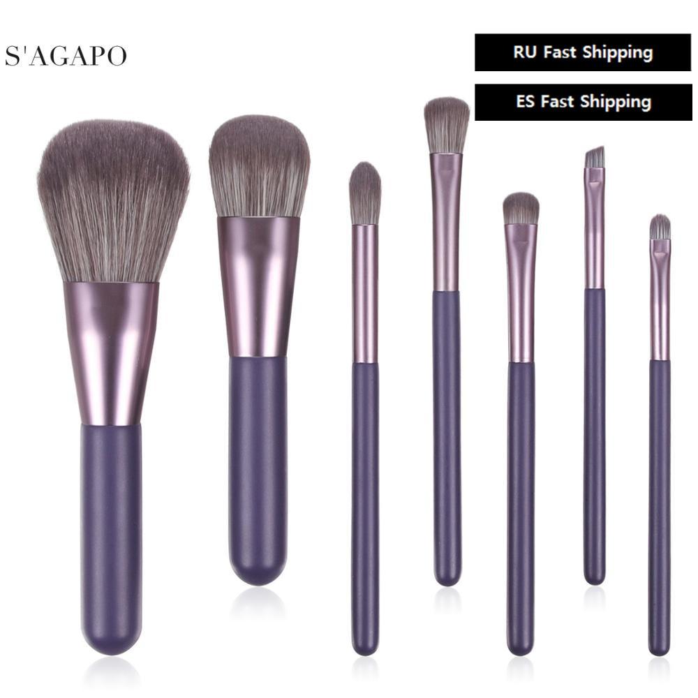 S'AGAPO 7PCS Loose Powder Makeup Brush Set Professional Eyeshadow Brush Foundation Blush Concealer Beauty cosmetic Make up Brush
