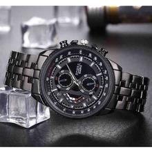 Męski zegarek biznesowy na sprzedaż męskie zegarki sportowe moda Rosra marka zegarek kwarcowy czarne zegarki męskie ze stali nierdzewnej promocja tanie tanio WOONUN 23cm QUARTZ Nie wodoodporne Składane zapięcie z bezpieczeństwem STAINLESS STEEL Szkło Nie pakiet 40mm men watch