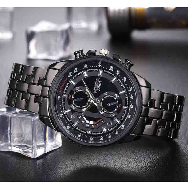 Men's Business Watch For Sale Men Sports Watches Fashion Rosra Brand Quartz Watch Black Stainless Steel Men's Watches Promotion
