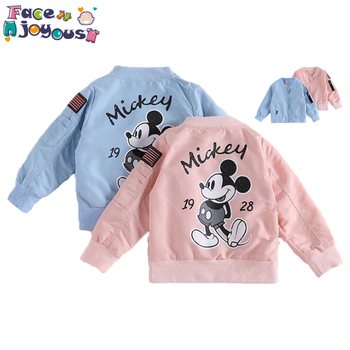Baby Clothes Cartoon Mickey Pattern Girls Boys Jackets Coats Toddler Kids Jacket Outwear Baseball Windproof Children Clothes New