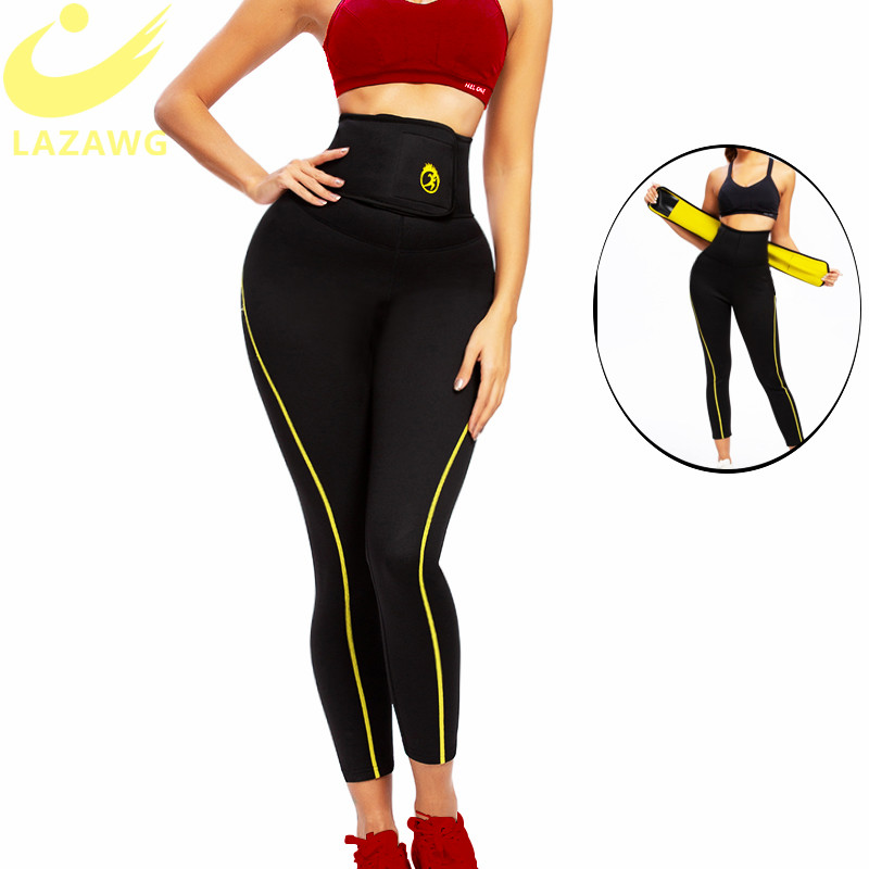 LAZAWG Sauna Pant Capris Hot Neoprene Slimming Shorts with Adjustable High Waist Trainer Belt for Fat Control Sweat Legging