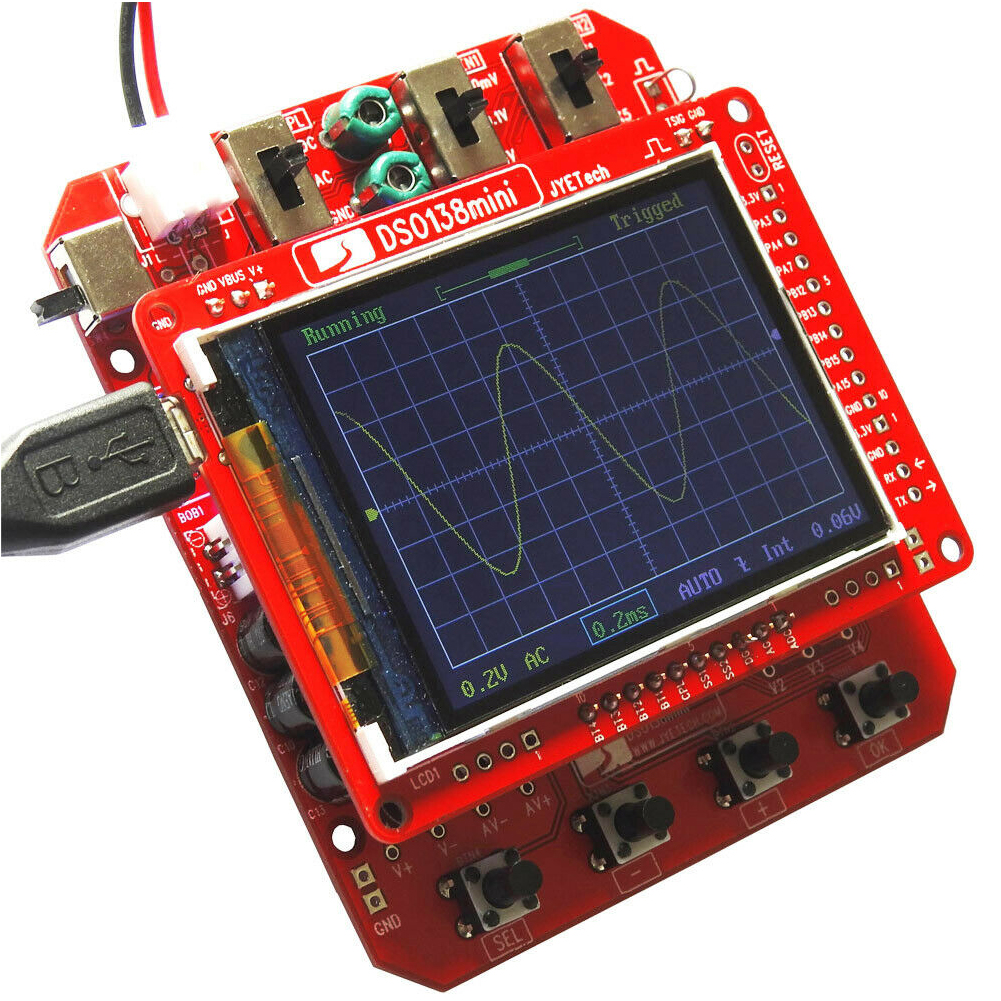 <font><b>DSO138</b></font> <font><b>Mini</b></font> Oscilloscope Kit Digital DIY Electronic Learning Test TFT LCD Portable Professional Analyzer With Case Pre-soldered image