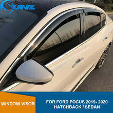 Auto Window Deflector Vizier Voor Ford Focus 2019 2020 Hatchback / Sedan Venster Vizier Vent Shades Zon Regen Deflector Guard sunz