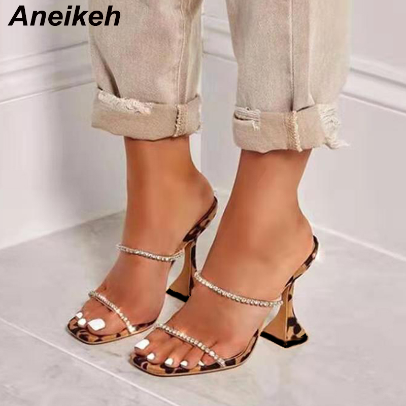 Aneikeh NEW Summer Leopard Gladiator Fashion Strap Rhinestone Sandals Sexy Shoes Woman High Heel Peep Toe Party Thin Heels Pumps
