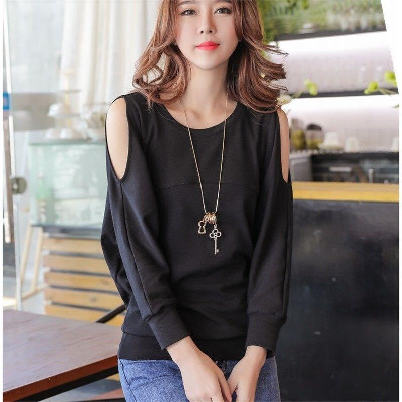 Women/'s Loose Fit Top Casual Can be worn off shoulder Blouse Ladies T-shirt