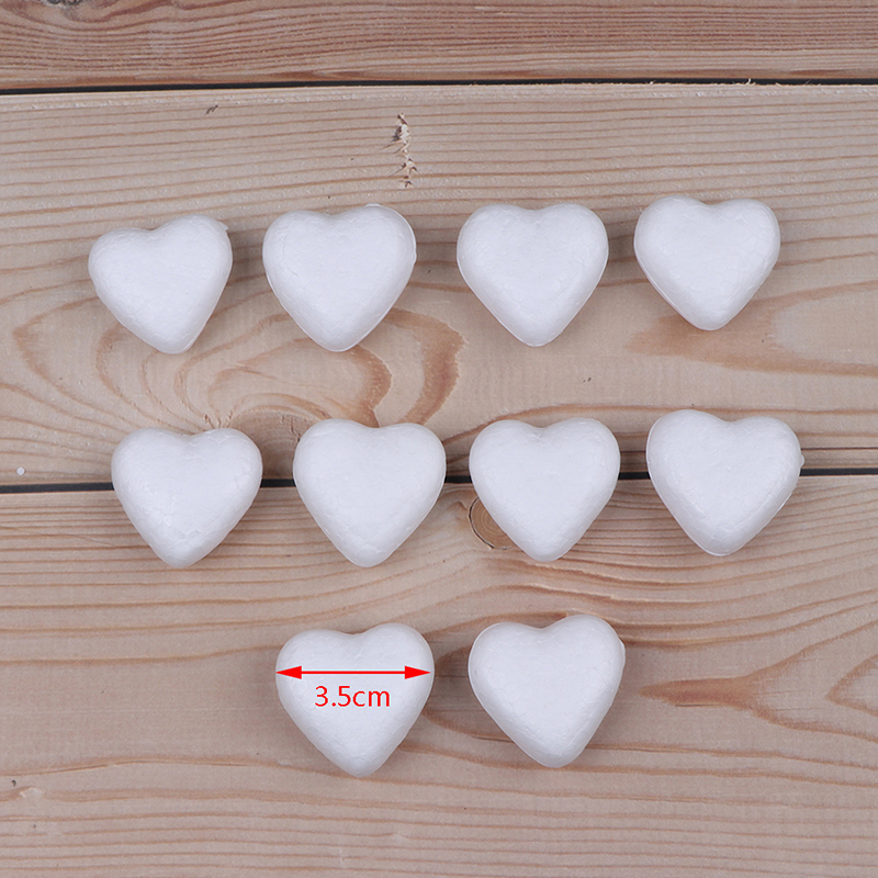 10pcs Polystyrene Styrofoam Foam Ball White Craft Heart-shaped For DIY Christmas Party Decoration Supplies Gifts