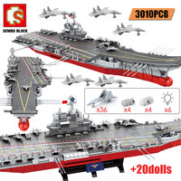 SEMBO 3010PCS Military WW2 Weapon Warship Cruiser Building Blocks City Police Aircraft Carriers Bricks LED Lights Toys for Boys