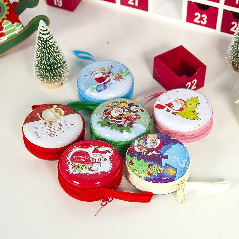 Cartoon Santa Snowman Elk Christmas Gift Box Tinplate Kids Xmas Gift Bag Coin Purse Key Headset Storage Bag Christmas Decoration