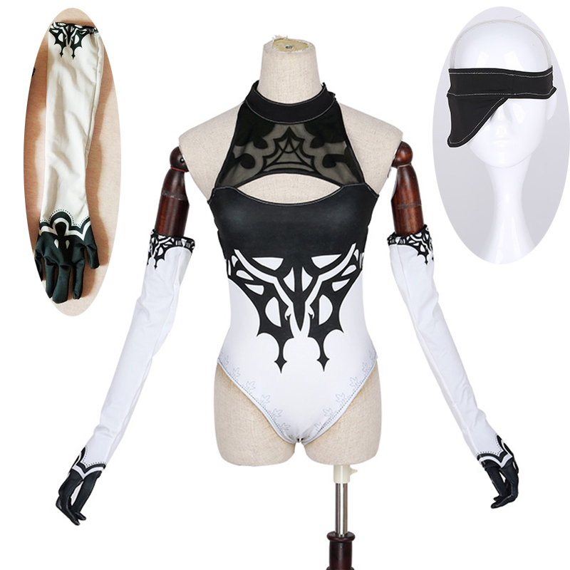 New GAME NieR Automata Figure 2B Fanart Swimsuit Sexy Lycra Bikini New Fashion Cosplay Costume Halloween Bikini Gloves Eye Mask