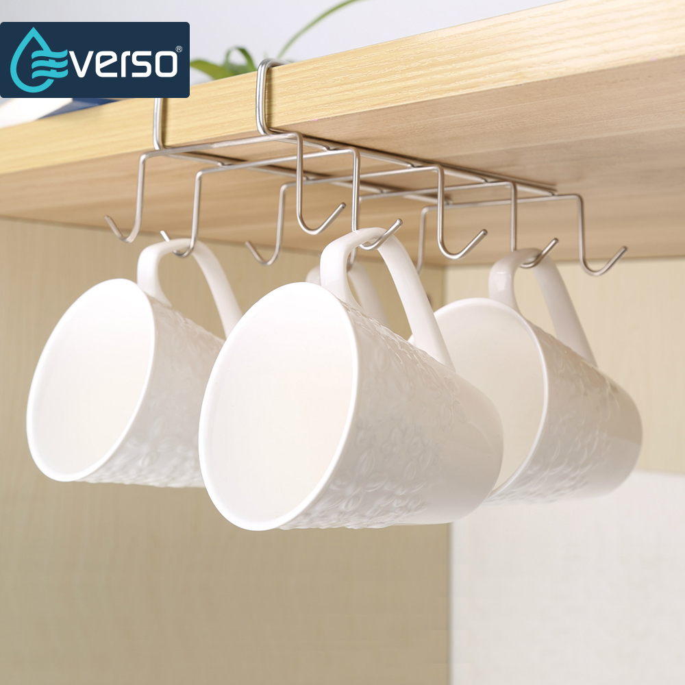 10 Hooks Pantry Cabinet Kitchen Storage Hanging Mug Hanger Holder Utility Cookware Hook Rack Hanging Storage Hanger Organizer