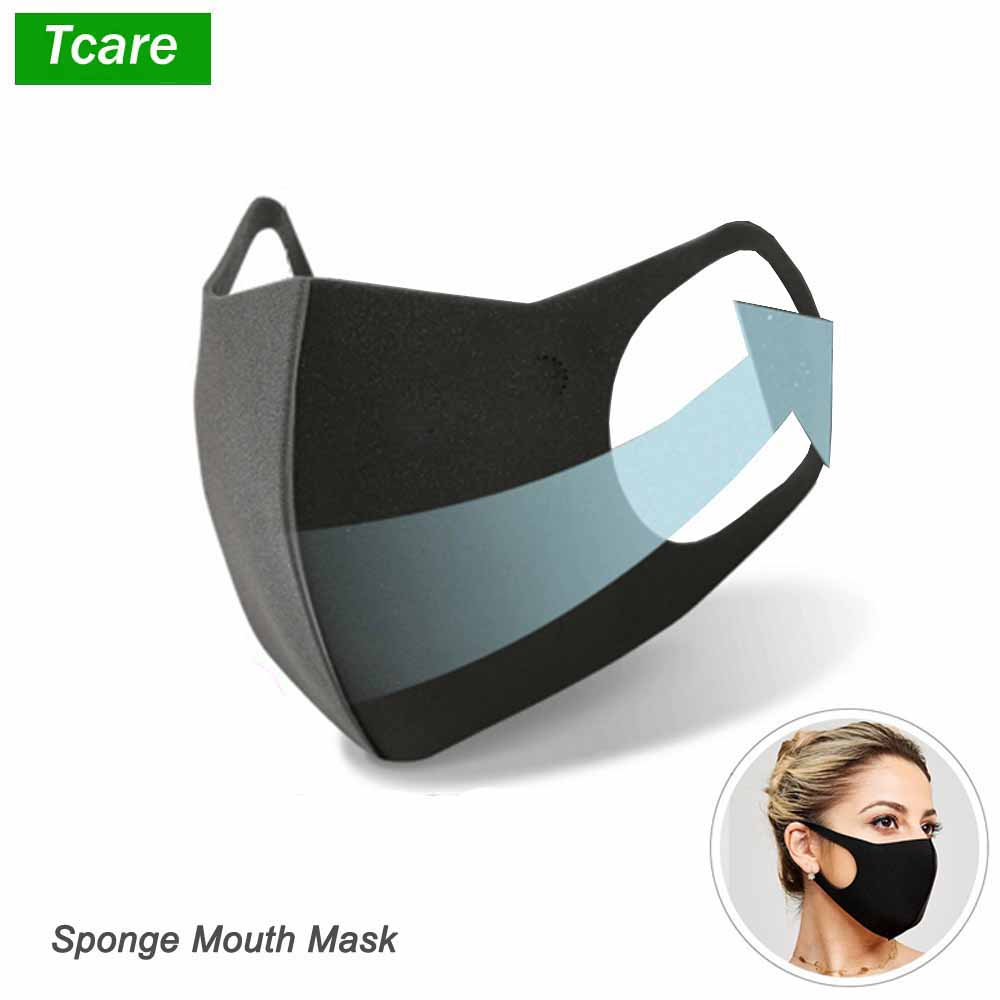 1Pcs Black Sponge Mouth Mask Unisex Face Mask Reusable Anti Pollution Shield Wind Proof Mouth Cover