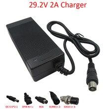 24 V şarj cihazı 29.2V 2A LiFePO4 pil şarj cihazı RCA DC XLRM GX16 konektörü 8S 24 V LFP pil paketi