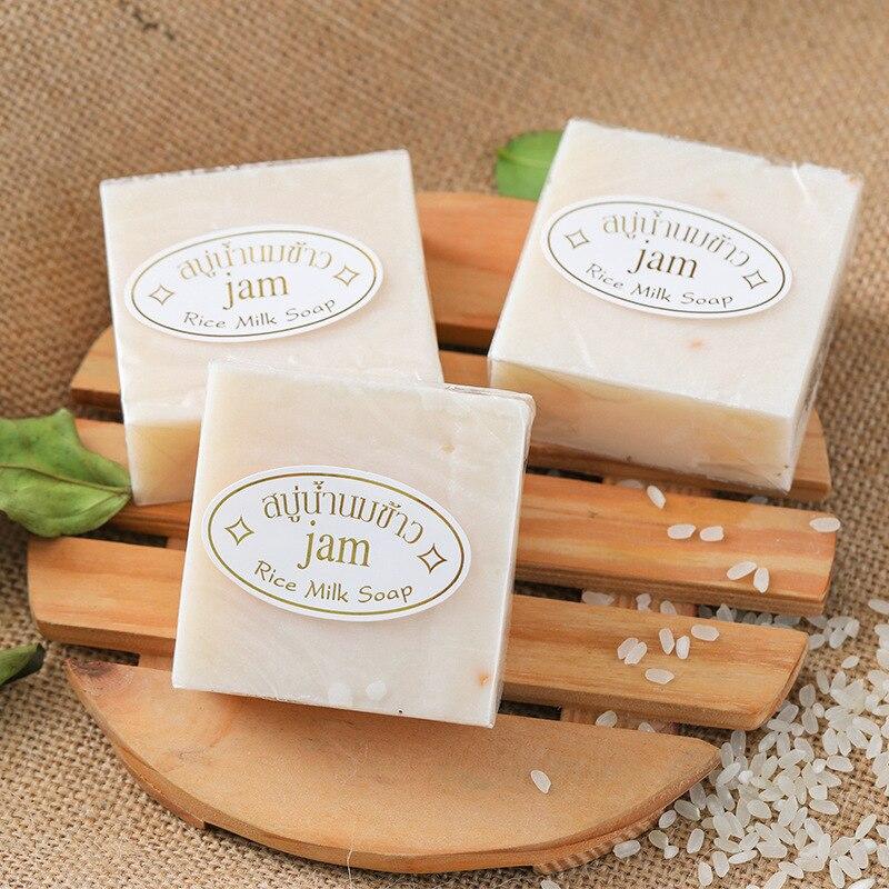 Thailand Jasmine Rice Soap Handmade Collagen Vitamin Skin Whitening Facial Soap Rice Milk Soap Anti-Acne Face Soap Bathing Soap