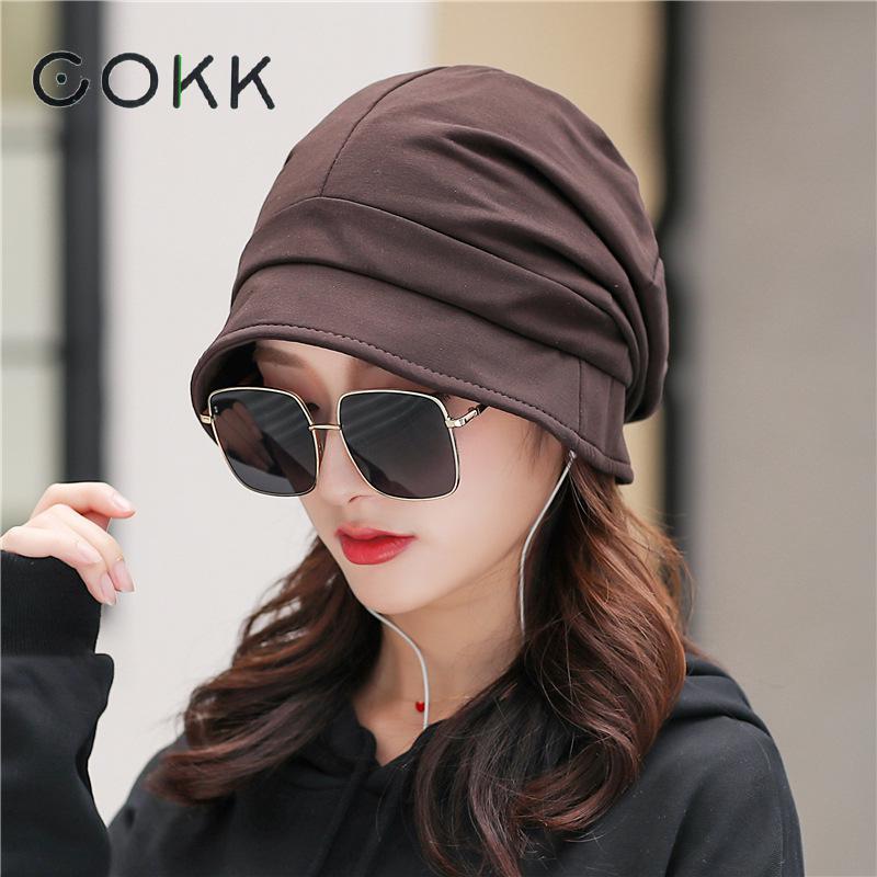 COKK Autumn Winter Womens Hats Beanie Turban Hat Female Bonnet Woman Baggy Cap Winter Hats For Women Windproof Ear Protect Gorro