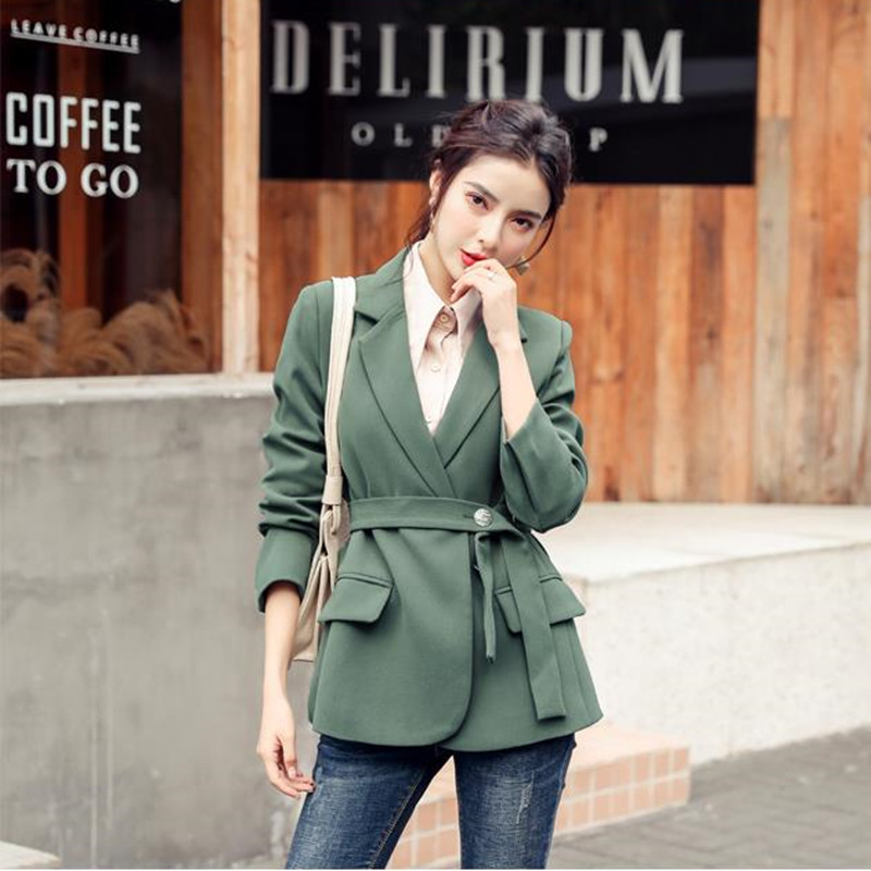 HziriP 2020 New Women Elegant Long Sleeve Blazer Jacket With Belt Casual Solid Female Chic Lady Office Suit Blazers Outwear Coat