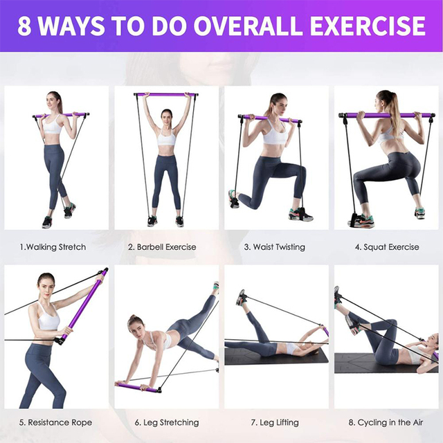 New Fitness Yoga Pilates Bar Stick Crossfit Resistance Bands Trainer Yoga Pull Rods Pull Rope Portable home Gym Body Workout 6