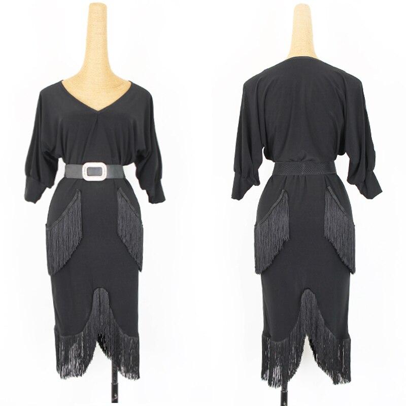 Latin Dance Dress Balck Bat Dew Arm Practice Fishtail Fringe Skirt Rumba Tango Salsa Samba Cha Cha Dancing Clothes Show DN3999