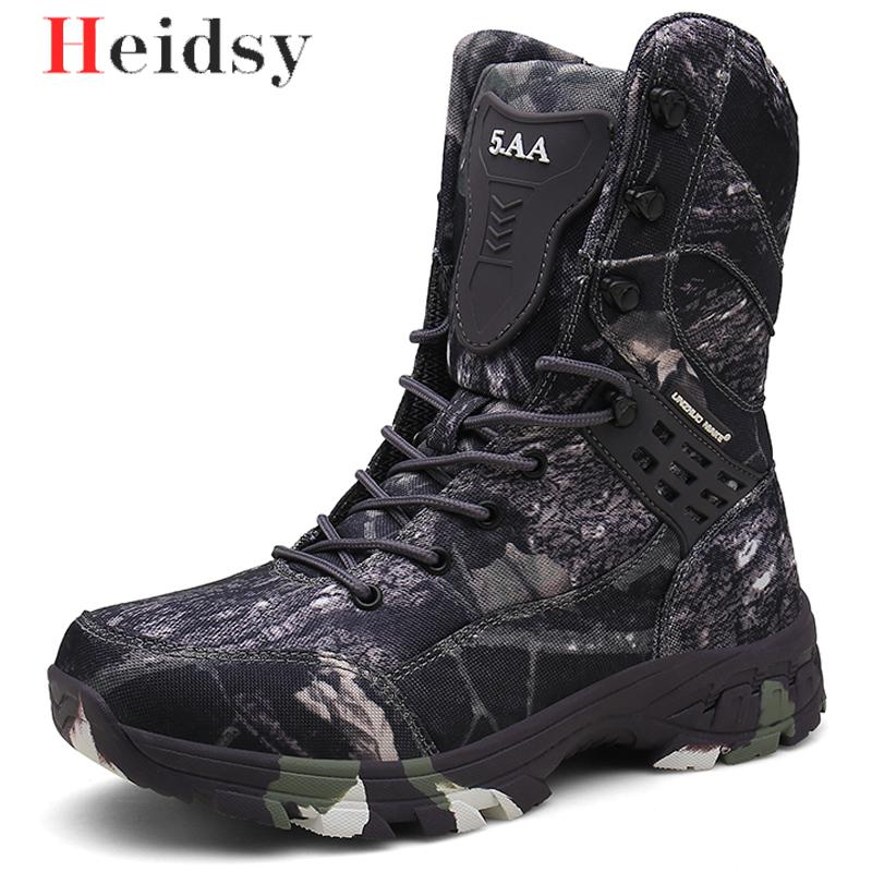 New Waterproof Men Tactical Military Boots Desert Boots Hiking Camouflage High-top Desert Men's Boots Fashion Work Men's shoes image