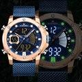 Мужские часы Топ люксовый бренд NAVIFORCE модные спортивные мужские часы синий большой циферблат наручные часы военные кварцевые цифровые мужс...