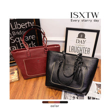 ISXTW 2019 New Womens Bag Autumn And Winter Style Fashion Tassel Design Retro One Shoulder Portable Ladies Big / A7