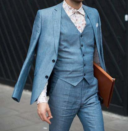 ANNIEBRITNEY Latest Coat Pant Designs Blue Linen Beach Men Suit Slim Fit Tuxedo Prom Wedding Groom Best Men Suits Custom Size