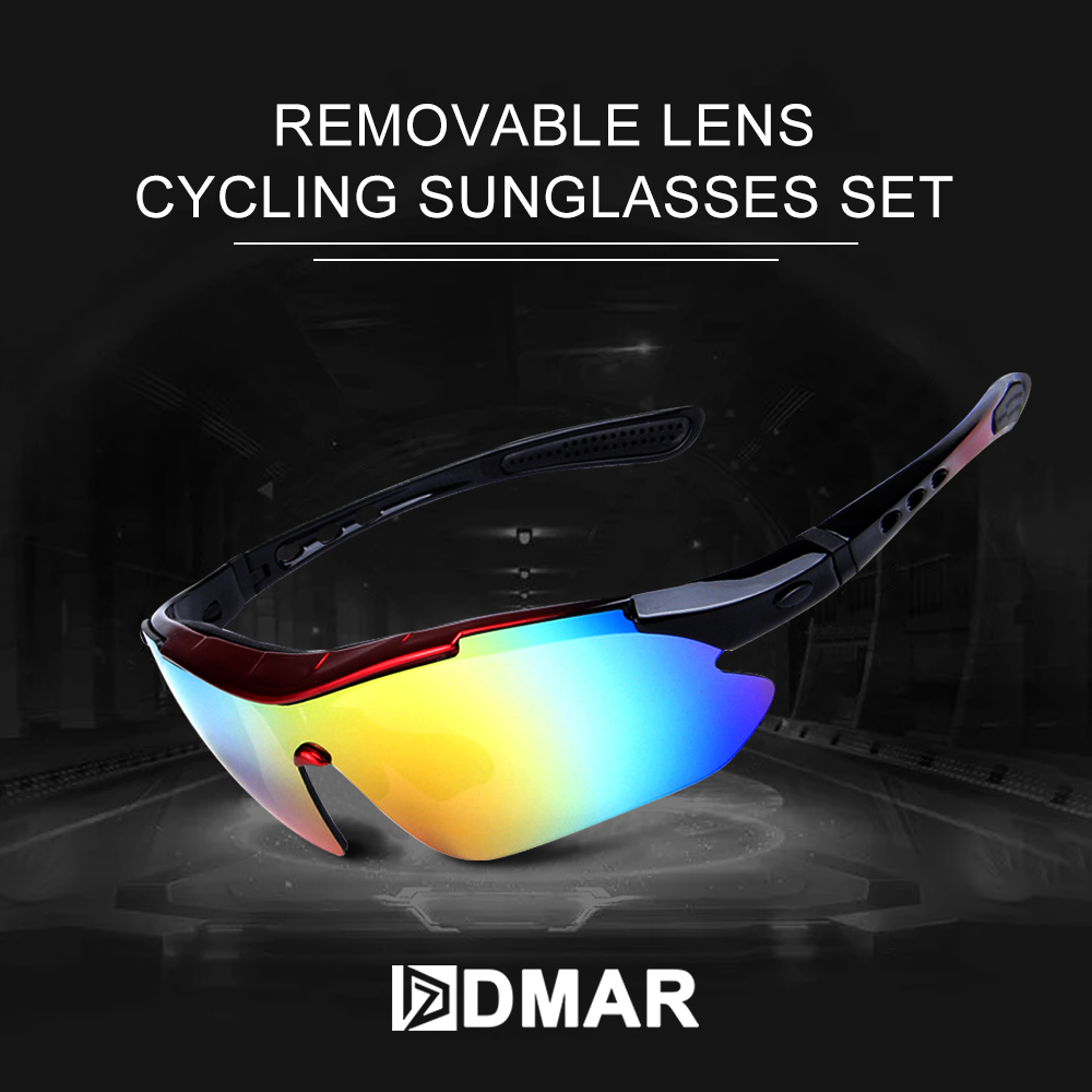 DMAR Cycling Sun Glasses Set Outdoor Sports Bicycle Men Women Bike Sunglasses 30g Goggles Eyewear 5 Lens