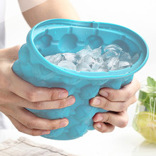 1000ml Silicone Ice Cube Maker With Lid Ice Bucket Ice Mold Space Saving Champagne Wine Beer Bucket For Kitchen Party Barware