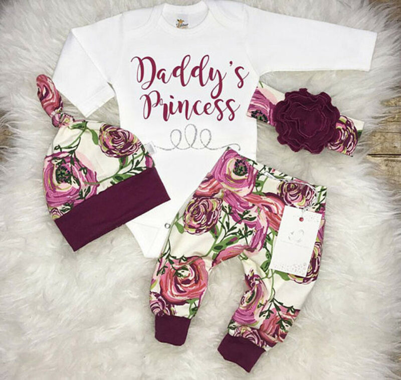 Toddler Newborn Baby Girls Tops Romper Flower Pants Leggings Hat Outfits Set Clothes Daddys Princess Winter Cotton Print Clothes