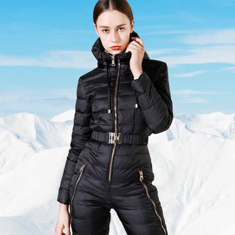 冬ダウンジャケット女性 2019 ウォームプラスサイズロングダックダウンジャケット女性フード付き羽シャムダウンコート