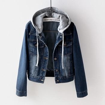 Women Coat 2020 Autumn Plus Size Short Denim Jackets Wash Long Sleeve Hooded Vintage Casual Jean Jacket Bomber