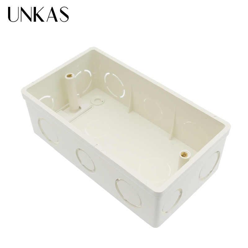 UNKAS جدار تصاعد صندوق كاسيت الداخلية الأبيض الخلفي صندوق 137*83*56 مللي متر ل 146 مللي متر * 86 مللي متر القياسية TouchSwitch و المقبس