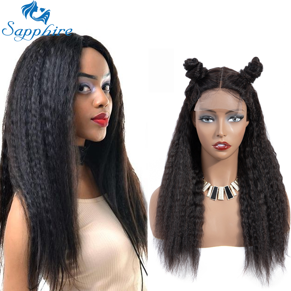 Sapphire 4*4 Kinky Straight Lace Closure Wigs Brazilian Remy Human Hair Wigs Pre Plucked Kinky Straight Closure Wigs For Women