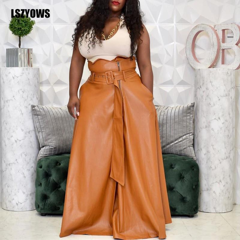 Fashion Women Autumn Winter PU Faux Leather Skirts Ladies Zipper High Waist A-line Black Maxi Long Skirt With Belt Plus Size 3xl