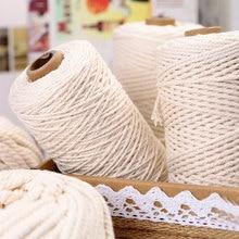 Cordón de macramé de algodón de 50/100/200M, cuerda para manualidades de costura, hilo trenzado Beige, decoración de boda, 2mm, 3mm, 4mm, 5mm, 6mm