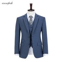 Wool woolen blue plaid tweed men suit Custom made Retro men wedding blazer suit