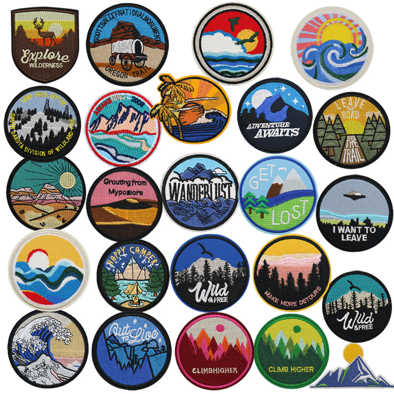 Circular Embroidered Cloth With Clothes Patch And Fashionable Outdoor Mountaineering Series Pants Patch And Decorati нашивки