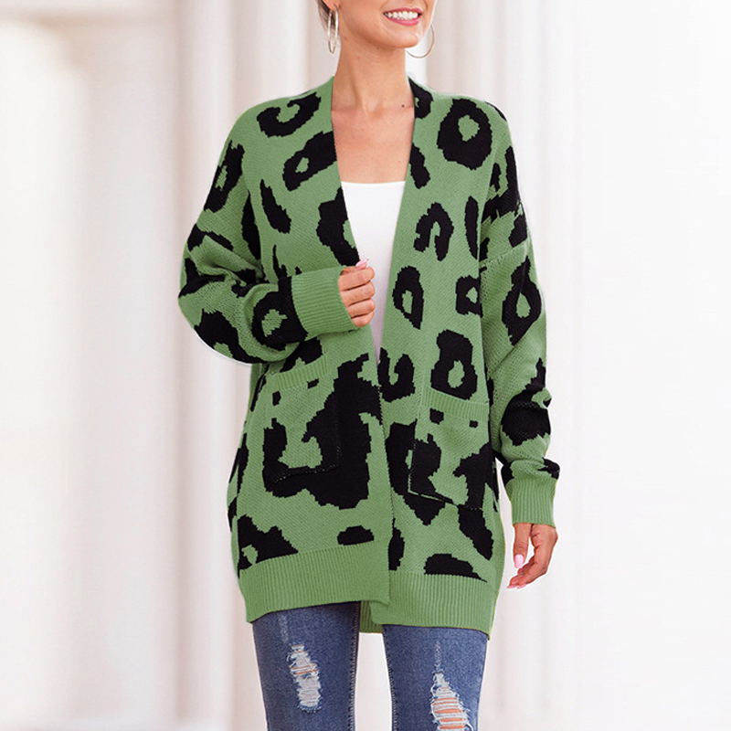 Women Sweater Autumn Casual  Double Pocket Leopard Print Coat Collarless Long Sleeve Ladies Knit Cardigan