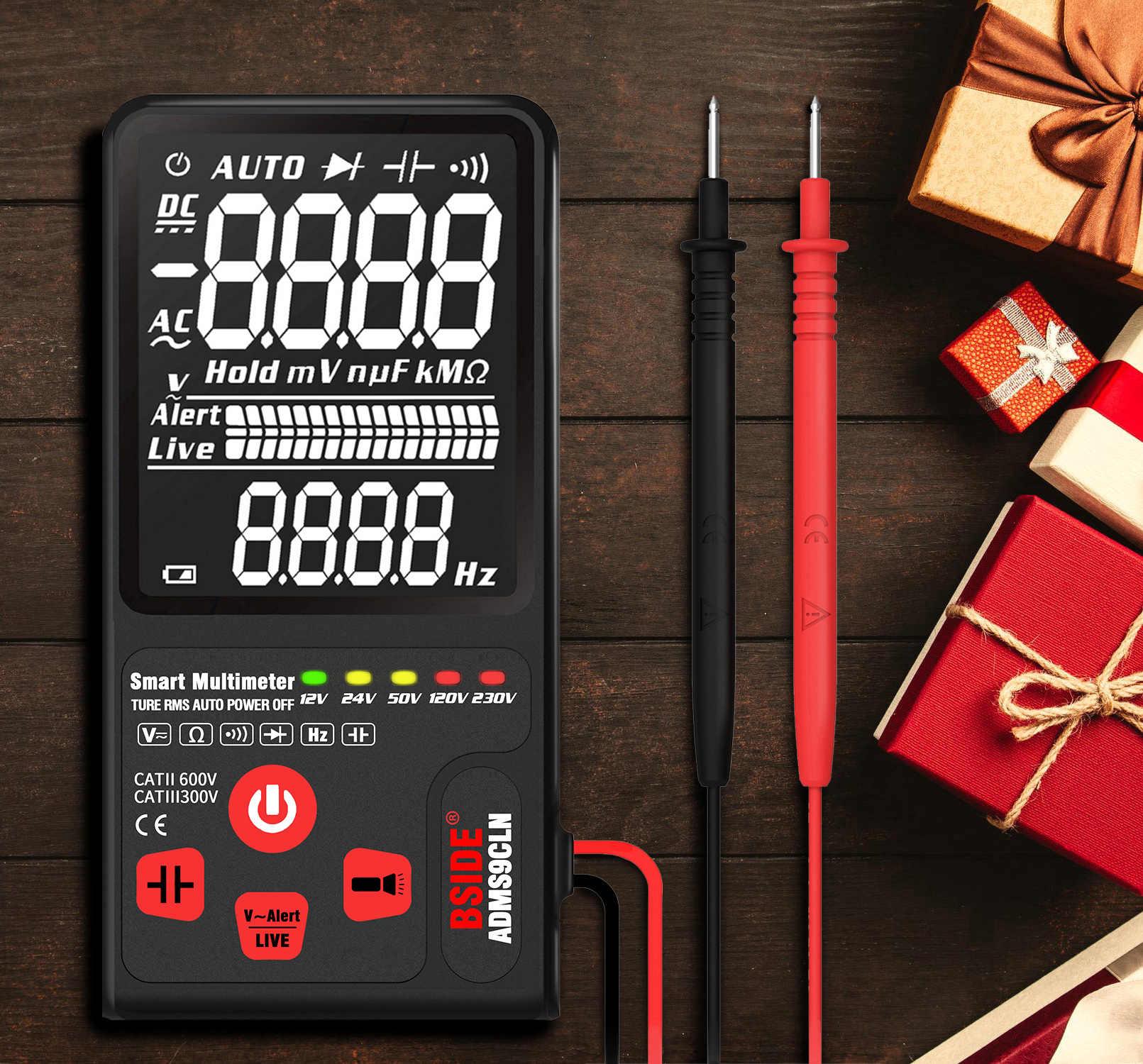 Bside atualizado multímetro digital tensão tester 3.5 ebebtn lcd 3-line display trms ohm hz com barra analógica & 5 led indicador dmm