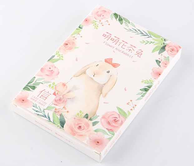 Flower Rabbit Paper Postcard(1pack=30pieces)